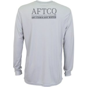Aftco Anytime Performance LS Shirt Heather Gray Back