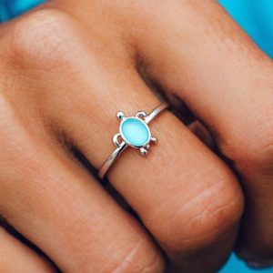 Puravida Silver Sea Turtle Ring Active