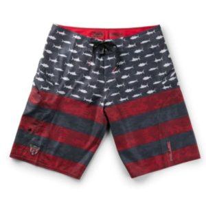 Pelagic Youth Sharkskin Americamo Fishing Shorts Red Front
