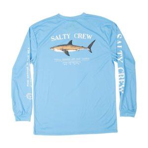 Salty Crew Bruce Long Sleeve Tech Columbia Blue Back Web
