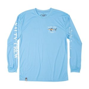 Salty Crew Bruce Long Sleeve Tech Columbia Blue Front wEB