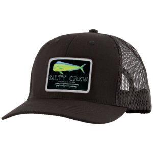 Salty Crew Mahi Mount Retro Trucker Hat Black Front Web