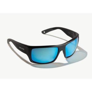 Bajio Nato Sunglasses Black Matte Blue Glass Front Side