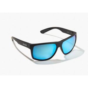 Bajio Sunglasses Boneville Black Matte Blue Glass Front Side