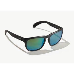 Bajio Swash Sunglasses Black Matte Green Glass Front Side