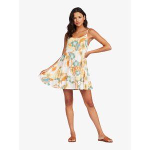Roxy Teen Dream Strappy Dress Snow White Reef Flower Front