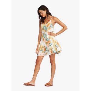 Roxy Teen Dream Strappy Dress Snow White Reef Flower Front Side
