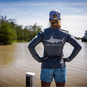 Aftco Jigfish Long Sleeve Performance Charcoal Heather Back Lifestyle