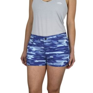 Aftco Mercam Fishing Shorts Blue Camo Front Front