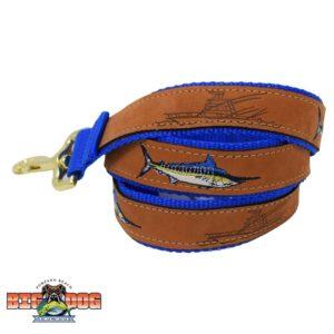 Dog Leash Leather Marlin Royal