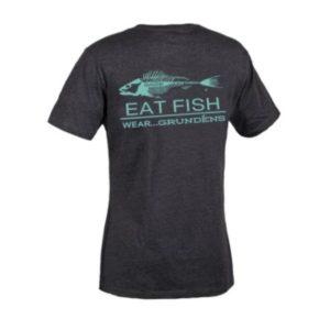 Grundens Eat Fish Logo T-Shirt Charcoal Heather Blue Back