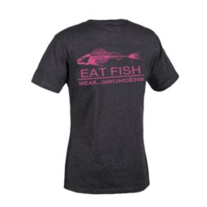 Grundens Eat Fish Logo T-Shirt Charcoal Heather Pink Back