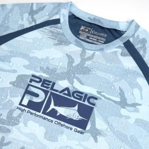 Pelagic Kids Vaportek Fish Camo Long Sleeve Slate Front Close