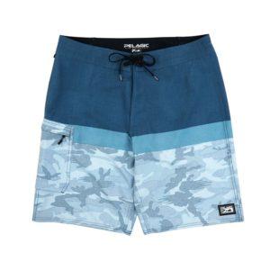 Pelagic Youth Blue Water Fish Camo Fishing Shorts Slate Front