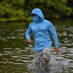 Aftco Barracuda Geocool Hood LS Performance Vivid Blue Heather Lifestyle