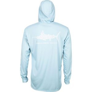 Aftco Jigfish Hooded Performance Shirt Sky Blue Back