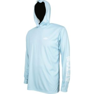 Aftco Jigfish Hooded Performance Shirt Sky Blue Front