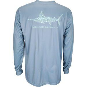Aftco Jigfish Long Sleeve Performance Shirt Slate Blue Back