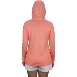 Aftco Yurei Hood Long Sleeve Performance Coral Heather Back